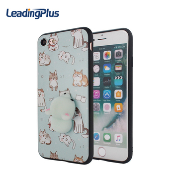 Stress Reducer 3D Three-Dimensional Cartoon Squishy Phone Case For Iphone 7 Plus