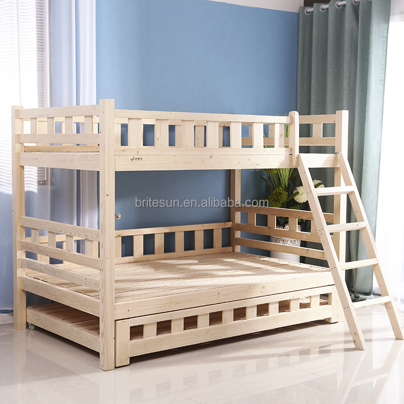 Comfortable saving space ladder triple wooden double bunk bed