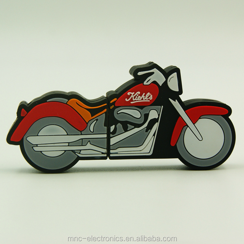 Stock product PVC rubber material custom motorcycle and truck shape personalized usb flash memory drive