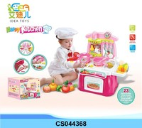 Interesting kids cooking play set toys children plastic toy kitchen set with light and sound