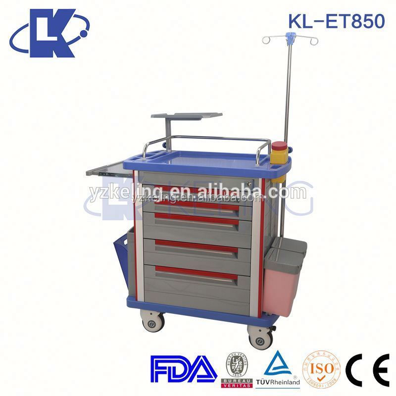 abs cabinet for emergency resuscitation rail trolley abs tray medical trolley