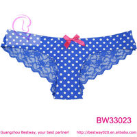 Sexy blue back full transparent panty front printed polka dot panty with cute red bow