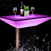 Shiny led cafe bar counter table led table for restaurant and dinning room