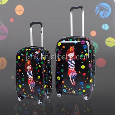 fashion cartoon PC rolling luggage hard plastic trolley case travel time bags