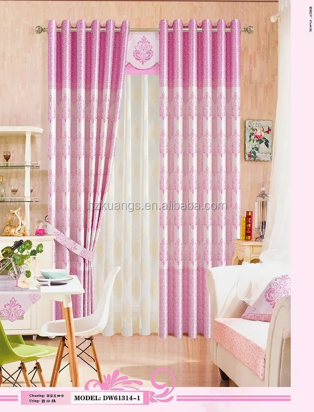 embroidery and jacquard cheap continuous curtain fabric Pink color