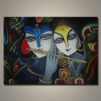 Buy wall art canvas painting Truehearted radha krishna painting in ...