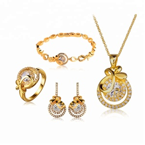 2019 High quality fashion 18K gold plated charm design custom jewelry set 925 silver jewelry set