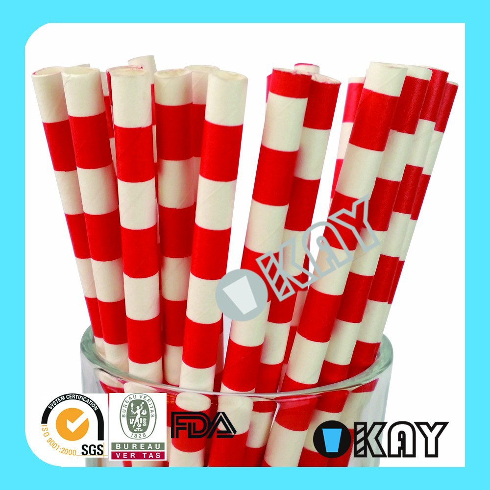 Wedding Supplies Party Small Red And White Paper Straw