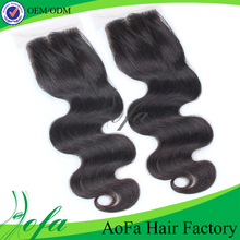Wholesale price silk base closure unprocessed human hair