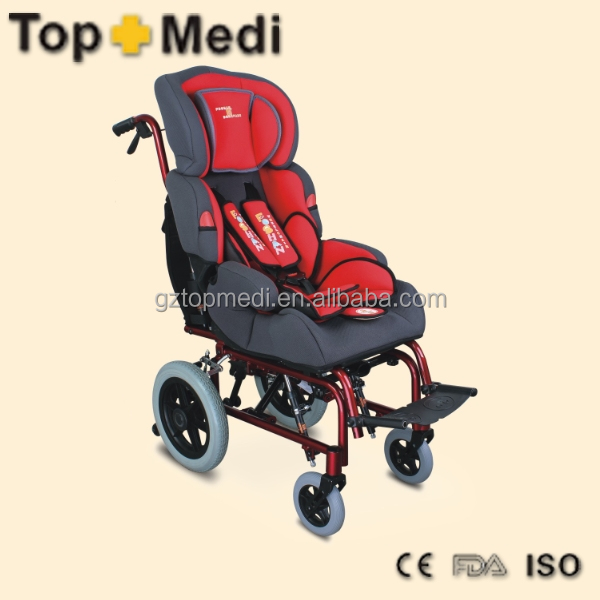 TRW258LBYGP Deluxe luxurious comfortable detachable aluminum reclining-high back baby wheelchair for cerebral palsy children