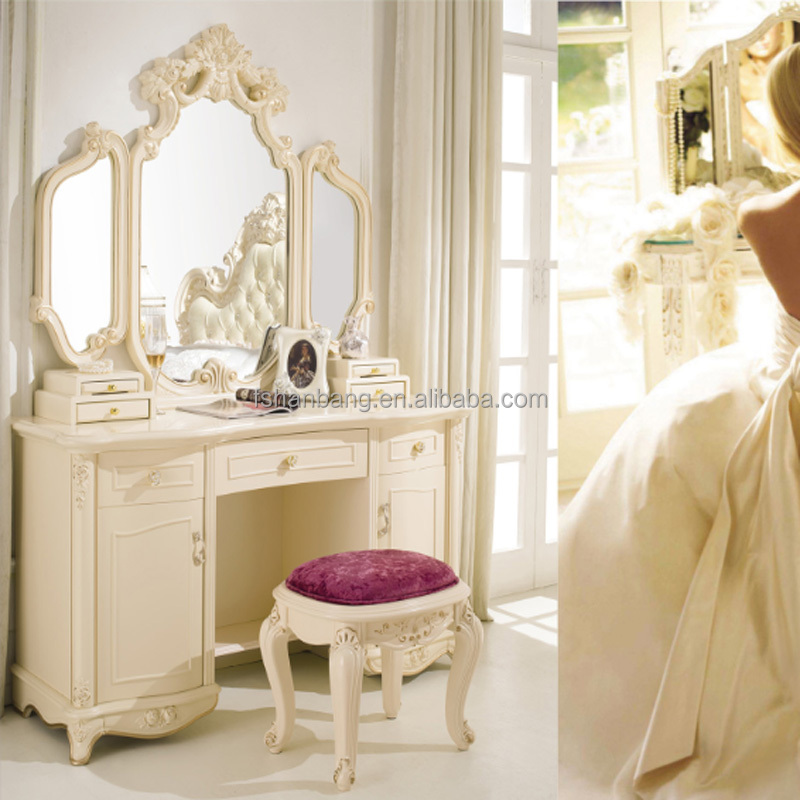 Modern European French Baroque Style Ivory White Wooden Dressing <strong>table</strong> with 3 mirrors and cupboard