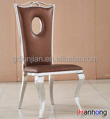Outdoor Stainless Steel Dining Chair Polished Metal Bar Chair For Restaurant Cafe