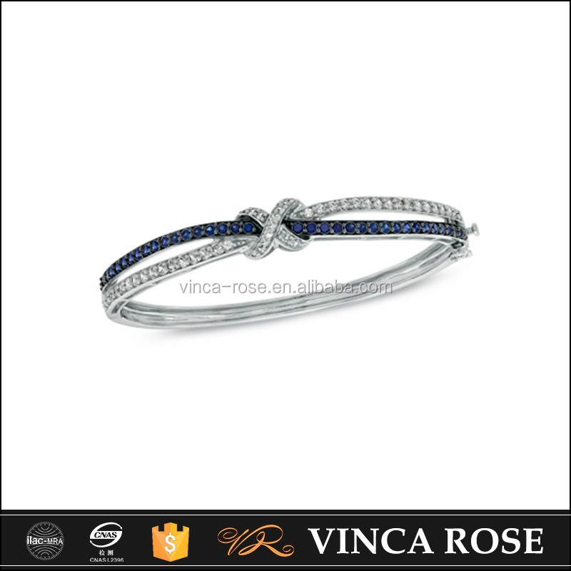 Blue and white engraved bracelets wholesale in special Cross-wound design