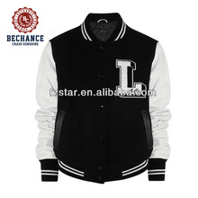 LZ336 50% wool, 50% viscose varsity jacket with leather sleeves