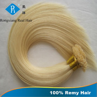 Wholesale Easy Wear Keratin Prebonded Light Blonde Human flat tip hair