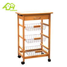 Attractive Price New Type Wooden Kitchen Trolley