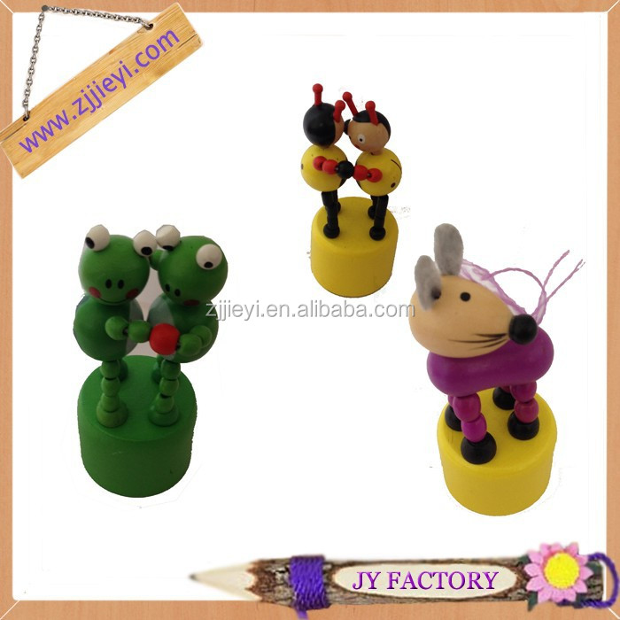 Promotional hot selling wooden toy push button giraffe popular push puppet toy