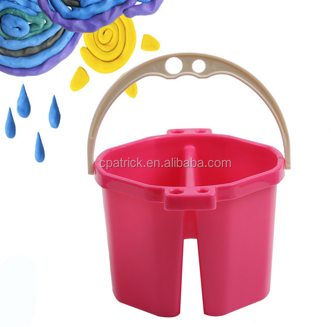Colourful Plastic Children Art Painting Bucket with brush hold and handle