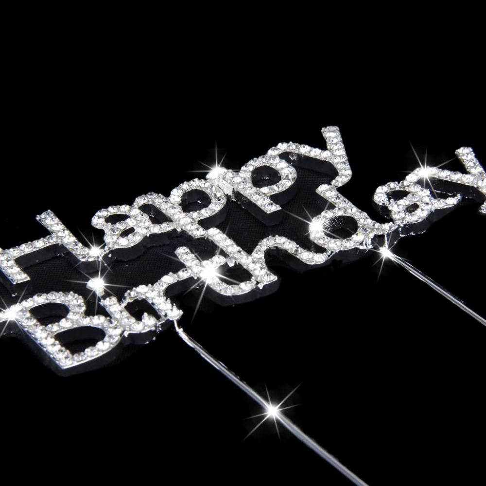 crystal cake decoration Happy Birthday rhinestone cake toppers