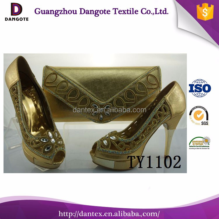 gold color hot selling fashion wedding italian shoes with matching bags with stones