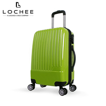 Zipper ABS Plastic Striped Suitcase Green 20 Inch Travel Case Luggage