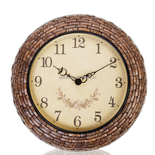 46cm Home Decor Natural Coconut Shell Mosaic Antique Style Clock