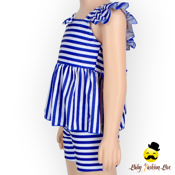 YZA-004Yiwu Yihong Wholesale blue white stripe outfit modest swimwear private label swimwear manufacturer