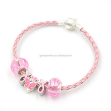 Newest Breast Cancer Awareness Pink Ribbon Bead Bracelet, DIY Interchangeable Breast Cancer Pink Ribbon Bead Bracelet DIY Gift