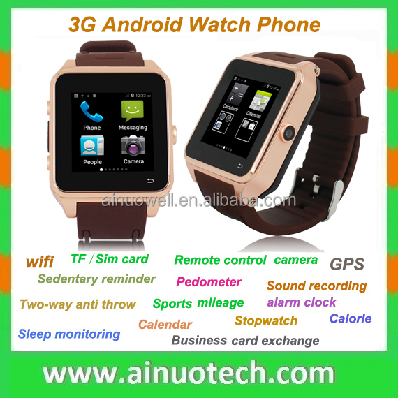 "1.54"" HD Screen Android Best Selling 3G Smart Phone Watch Bluetooth Wrist Watch Phone GPS Wifi 5.0M Camera"