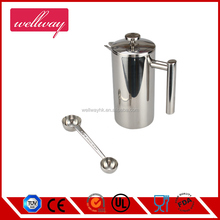 Double Wall Insulated 3 Cup/12.3oz Stainless Steel French Coffee Press with 1 and 2 Tbsp spoon