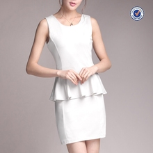 Summer office dress formal bodycon pencil white black ruffle worker mini fashion dress