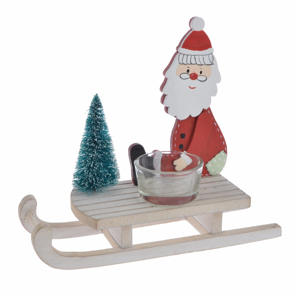 Santa Claus/snowman/reindeer in wooden white water w/pine sleight sled decorative Christmas ornament
