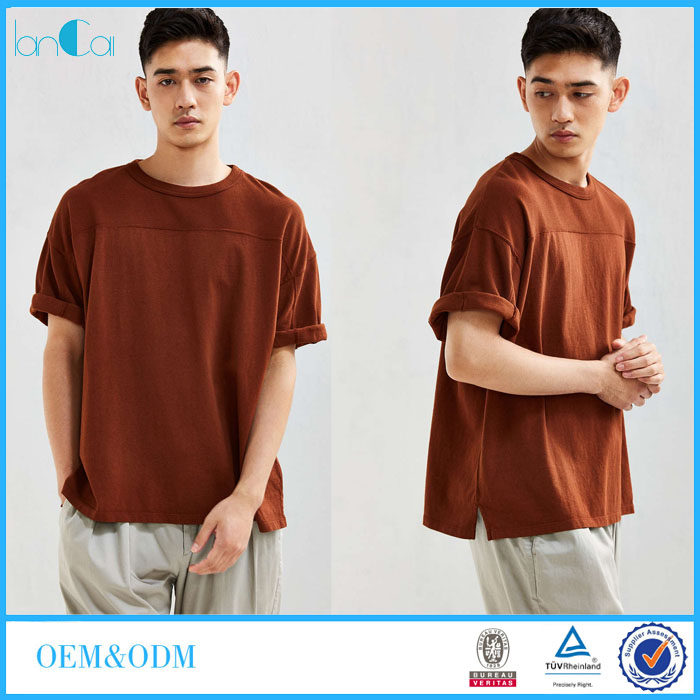 OEM Cheap Bulk Oversized Blank T-shirt for Men with Dropped Shoulder Rolled Sleeve LC8302-N