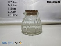 180ml Ribbed Pumpkin Shape Glass Candle Holder Tealight Holder