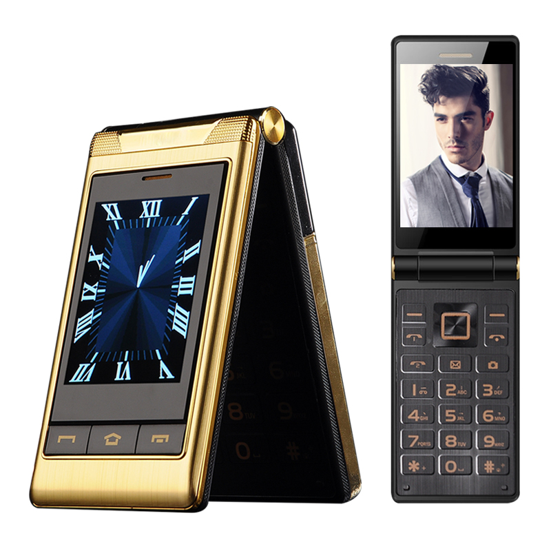 "TKEXUN <strong>G10</strong> 3.0"" Double dual Screen Dual SIM Card long standby touch screen FM senior phone flip mobile phone for old people P063"