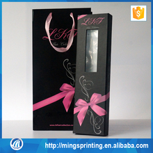 Glossy Black Magnetic Closure PVC Window Hair Extension Packaging Box and Bag