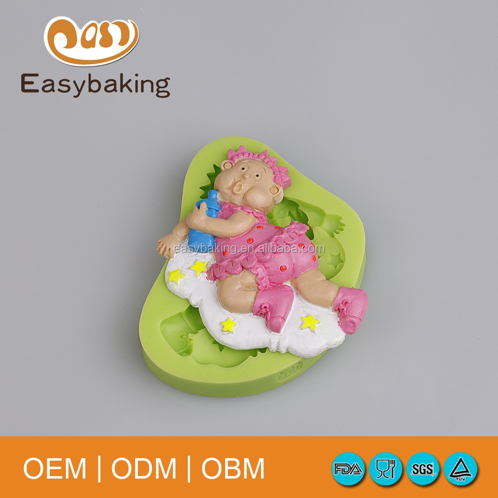 Wholesale Funny Baby Holding A Bottle 3D Cake Decorating Tools Baby Cake Silicone Fondant Mold