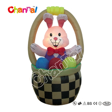 Hotsale 100% polyester LED lights easter bunny baskets with easter egg Decoration