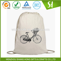 Recycled promotion cotton drawstring bag/blank plain custom cotton drawstring bag