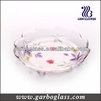 Leaf-shaped Round Color & Frosted Glass Plate for Fruit and Candy , Large round glass plates