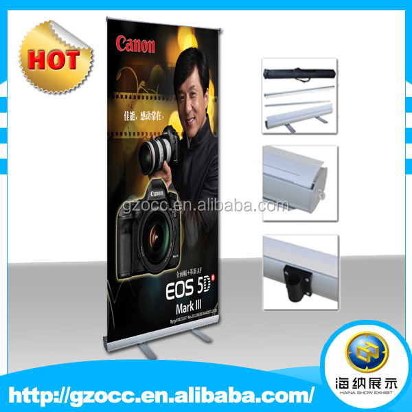 hot sale pop up retractable and adjustable silver aluminum stand up roll up banner display for advertising trade exhibition show