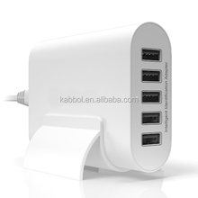 2016 Mobile Phone Accessories - 50W 10A 5 Ports Desktop USB Wall Travel Charger Adapter Charging Dock for Smartphons