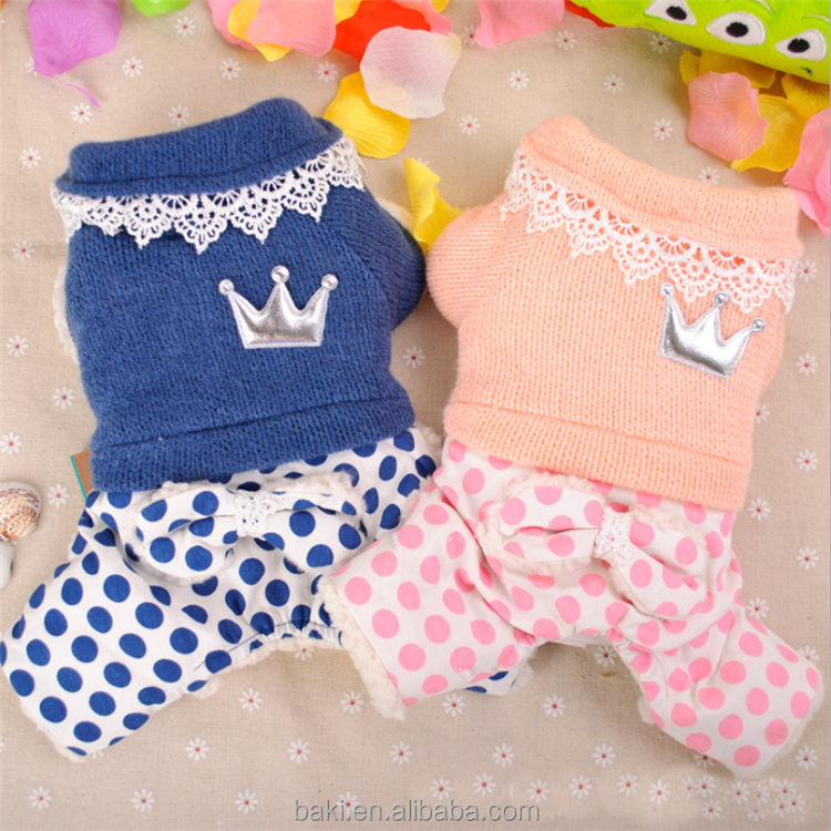 Wholesale Pet Dog Clothes with Four Legs Hand Knit Cotton Dog Sweater