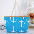 Wholesale colorful canvas rope handle beach tote bag Fashion custom stripe canvas beach bags