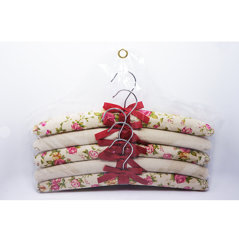 Wholesale Fabric Cotton Hanger Floral Printed Single Rod Padded Hanger