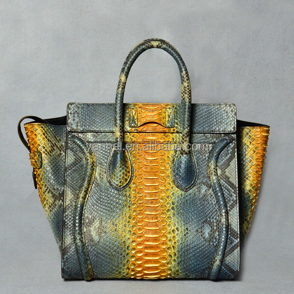 python leather lady handbag_python skin handbag_exotic skin handbag_fashion designer handbag