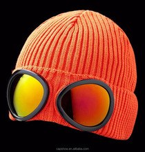 Cotton Goggle Beanies Hats Glasses Knitted Cap Blank Winter Hat