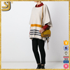 OEM factory price custom knitted women poncho sweaters, machine jacquard knitted