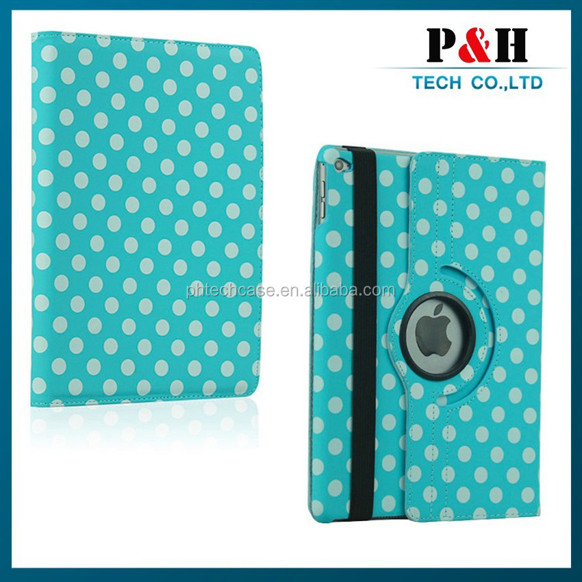 Polka Dot 360 rotation case for ipad air 2 leather case paypal