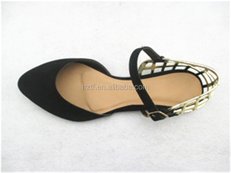 Alibaba China Women'S Black Casual Flat Crystal Buckle Ladies Shoes